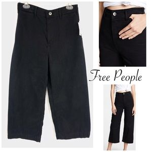 Free People Black Wide Leg High Rise Patti Pants